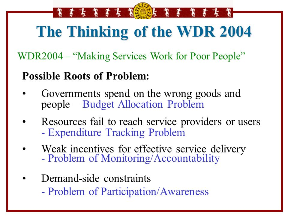 The Thinking of the WDR 2004 Possible Roots of Problem: