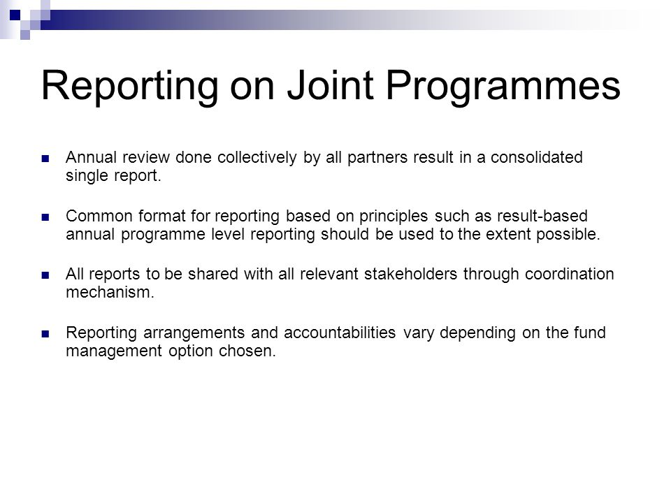 Reporting on Joint Programmes