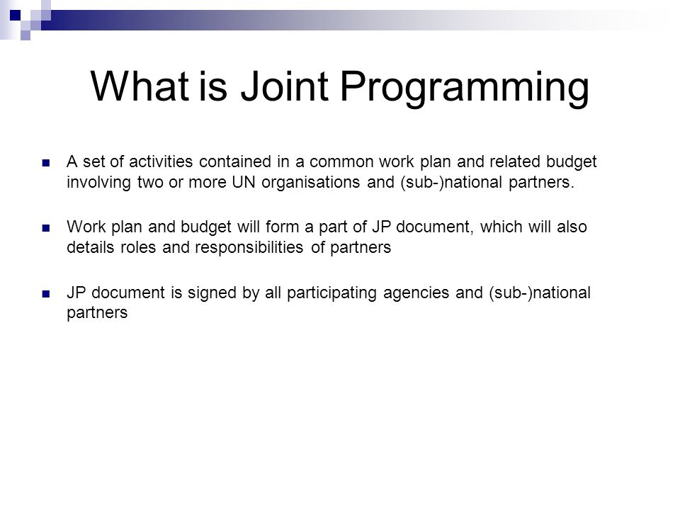 What is Joint Programming