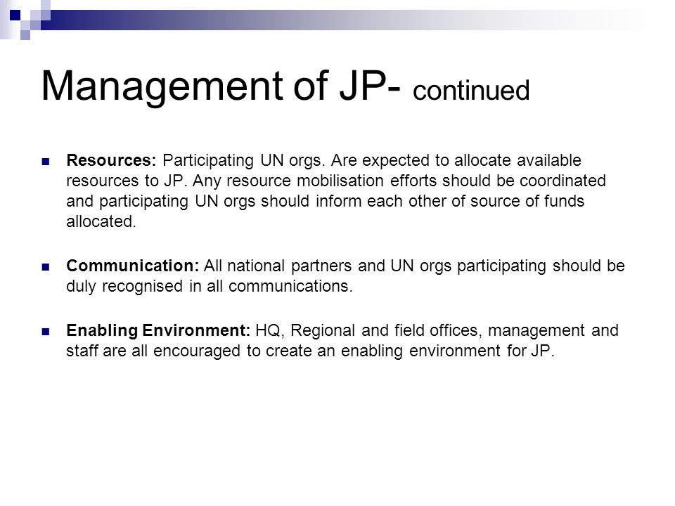 Management of JP- continued