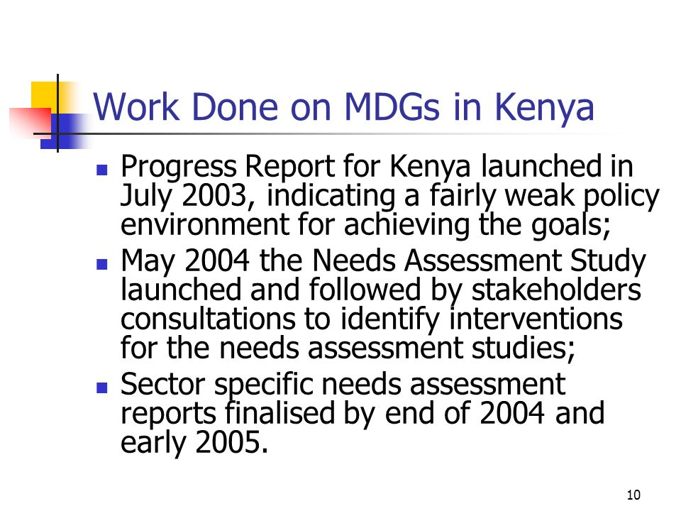 Work Done on MDGs in Kenya