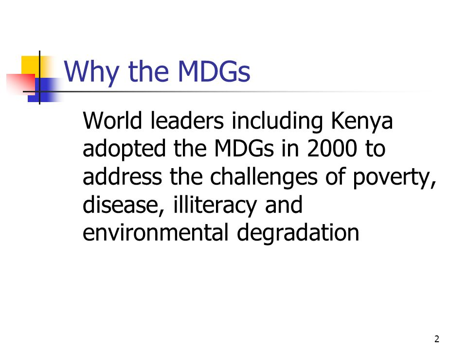 Why the MDGs