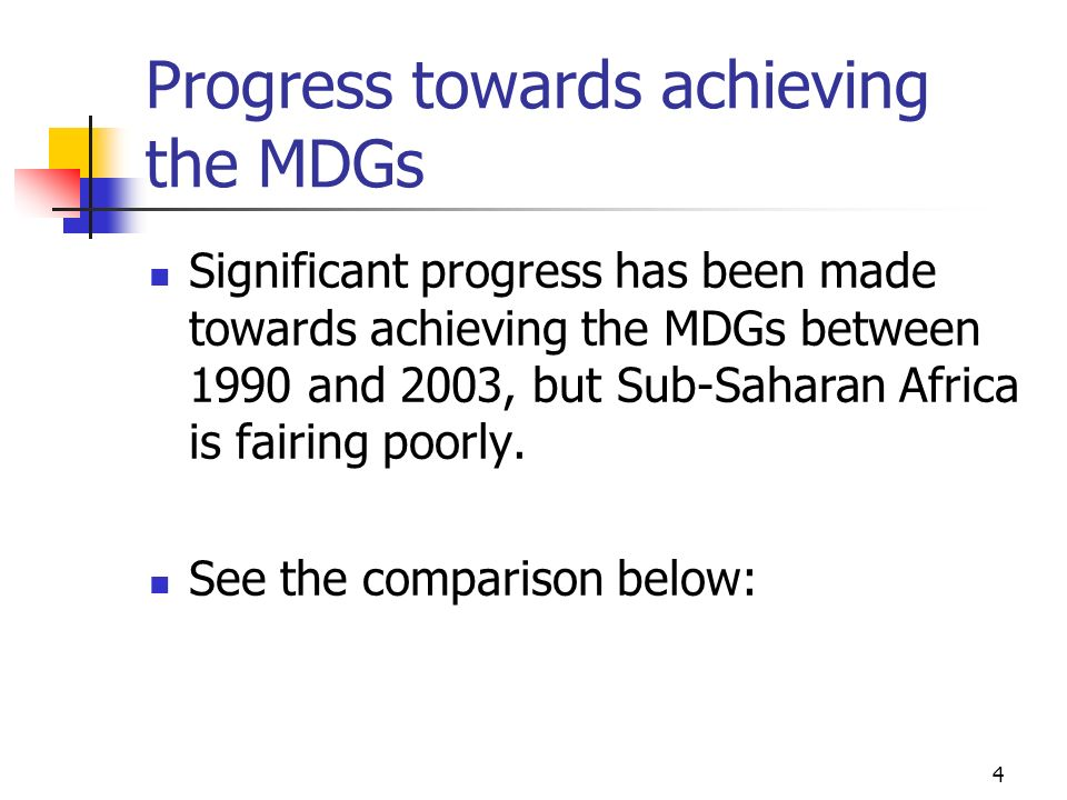 Progress towards achieving the MDGs