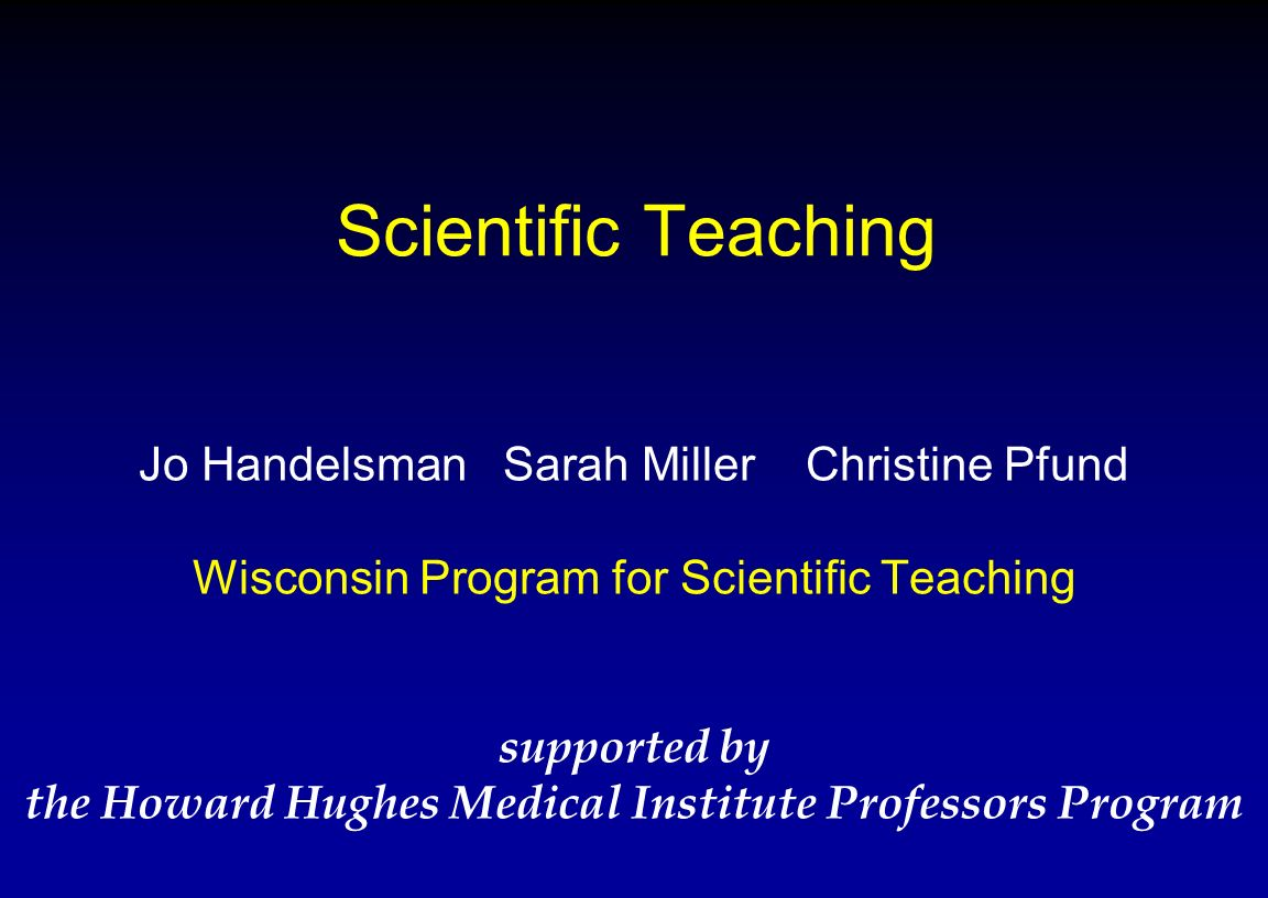 the Howard Hughes Medical Institute Professors Program