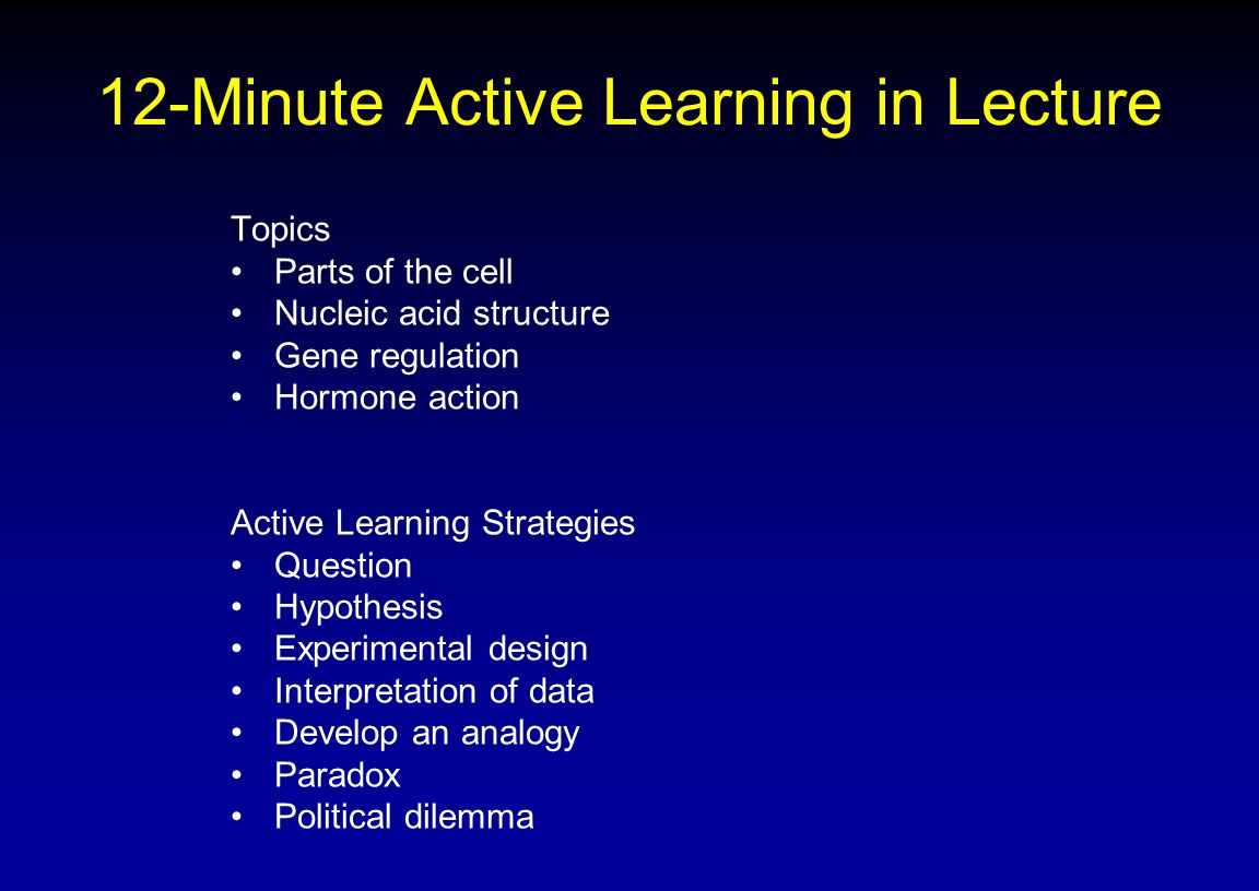 12-Minute Active Learning in Lecture