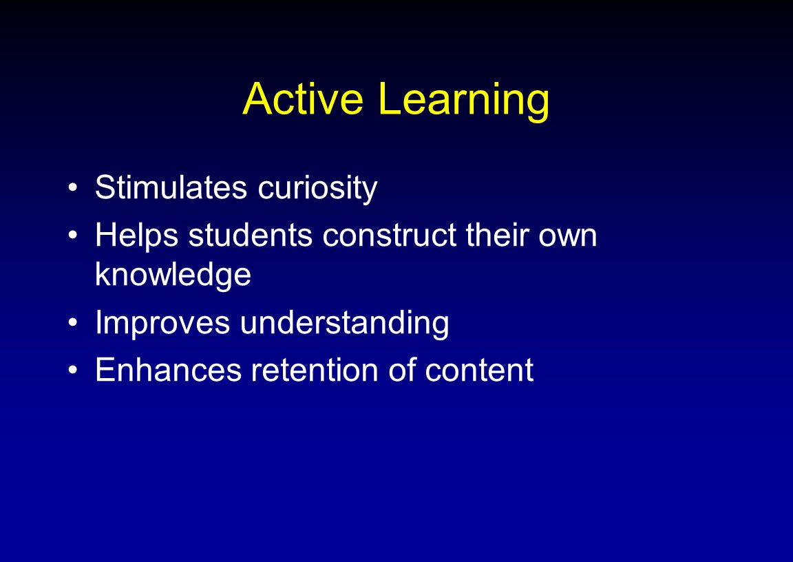 Active Learning Stimulates curiosity