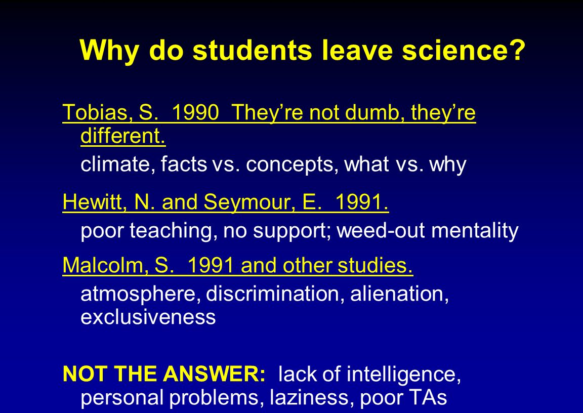 Why do students leave science