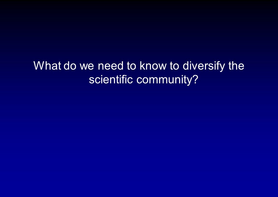 What do we need to know to diversify the scientific community