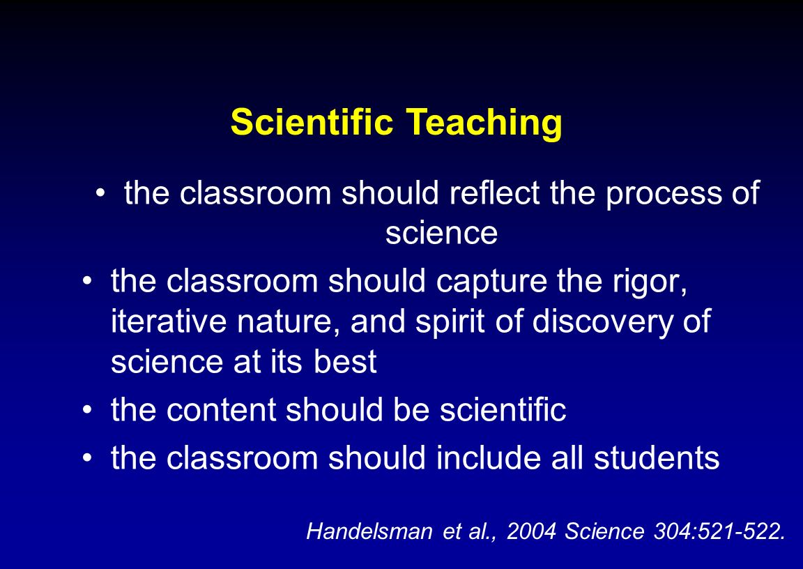 the classroom should reflect the process of science