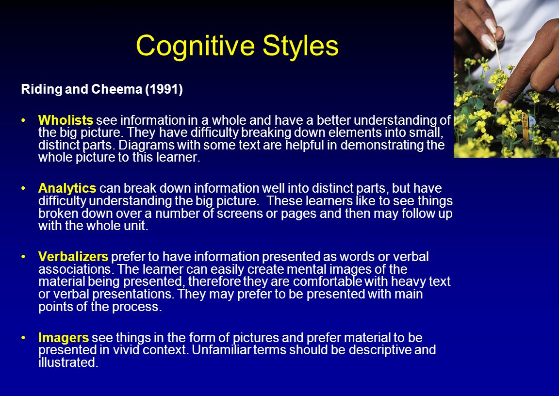 Cognitive Styles Riding and Cheema (1991)