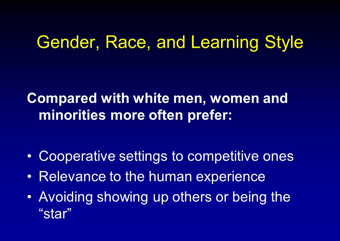 Gender, Race, and Learning Style