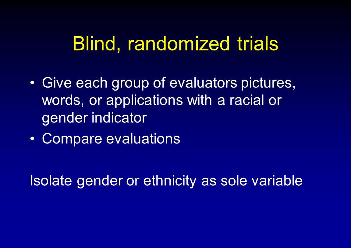 Blind, randomized trials