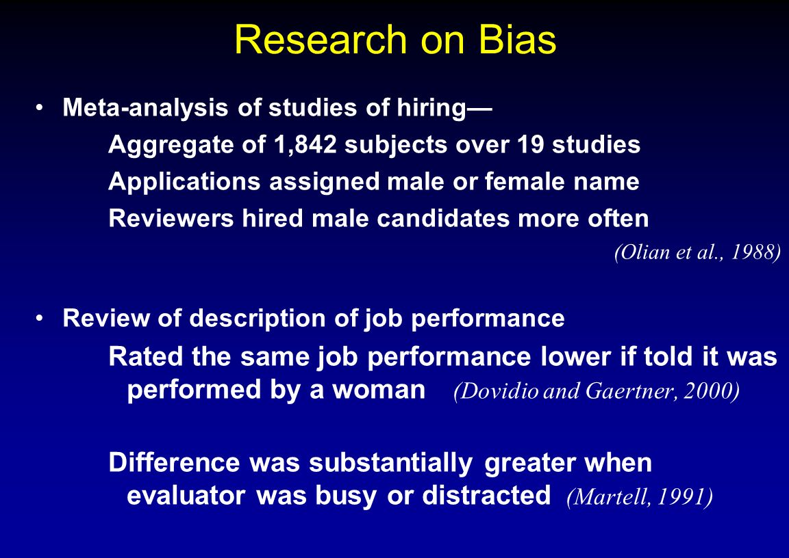 Research on Bias Meta-analysis of studies of hiring— Aggregate of 1,842 subjects over 19 studies. Applications assigned male or female name.