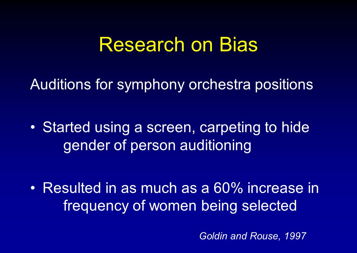 Research on Bias Auditions for symphony orchestra positions