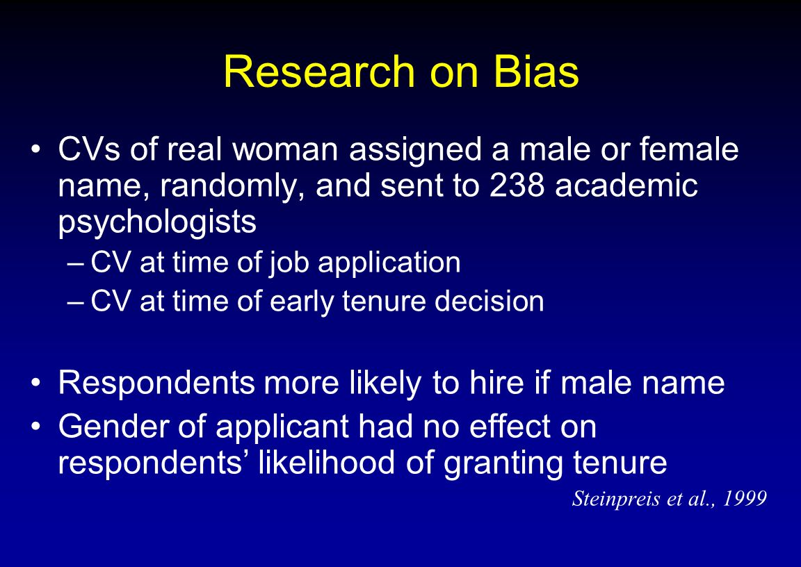 Research on Bias CVs of real woman assigned a male or female name, randomly, and sent to 238 academic psychologists.