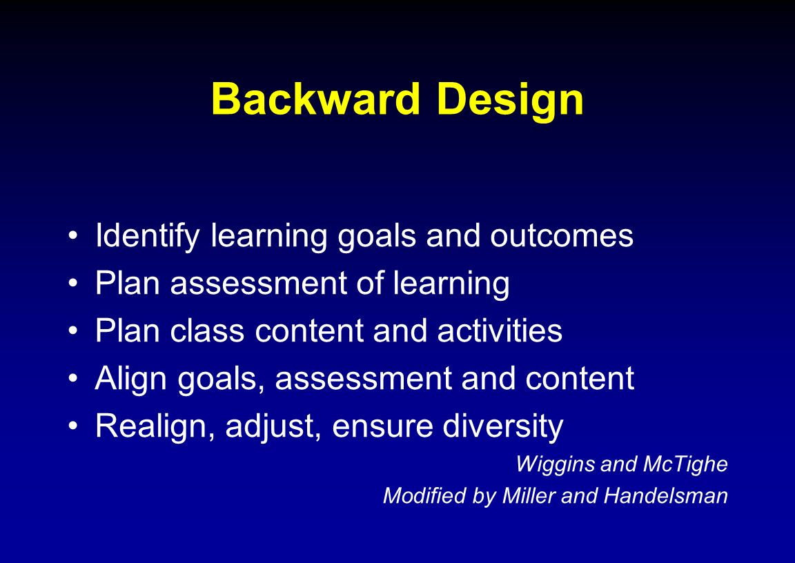 Backward Design Identify learning goals and outcomes