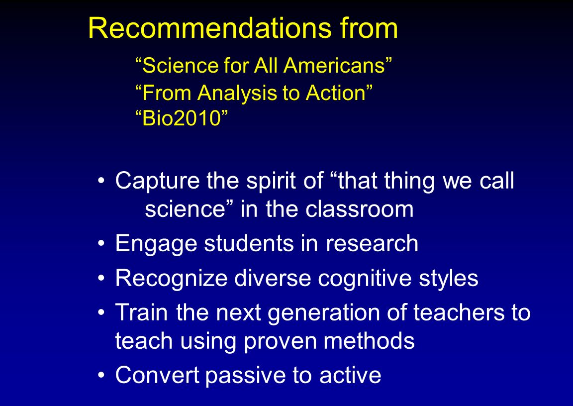 Recommendations from. Science for All Americans