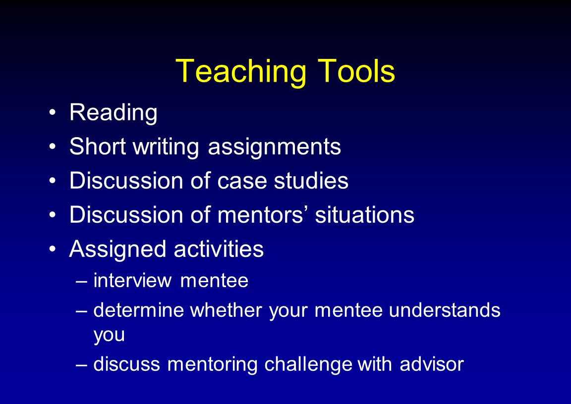 Teaching Tools Reading Short writing assignments