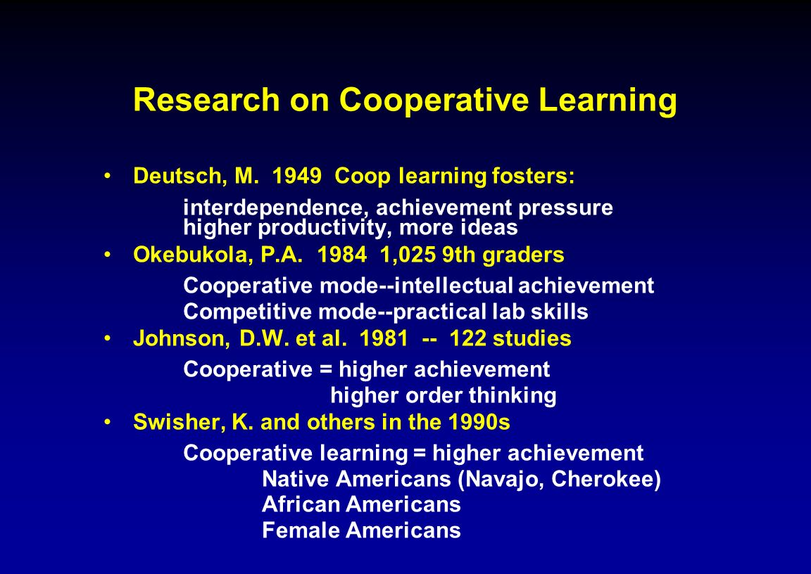 Research on Cooperative Learning