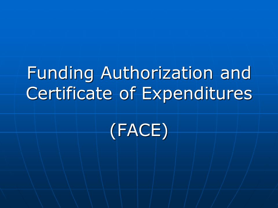 Funding Authorization and Certificate of Expenditures