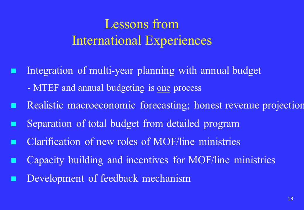 Lessons from International Experiences
