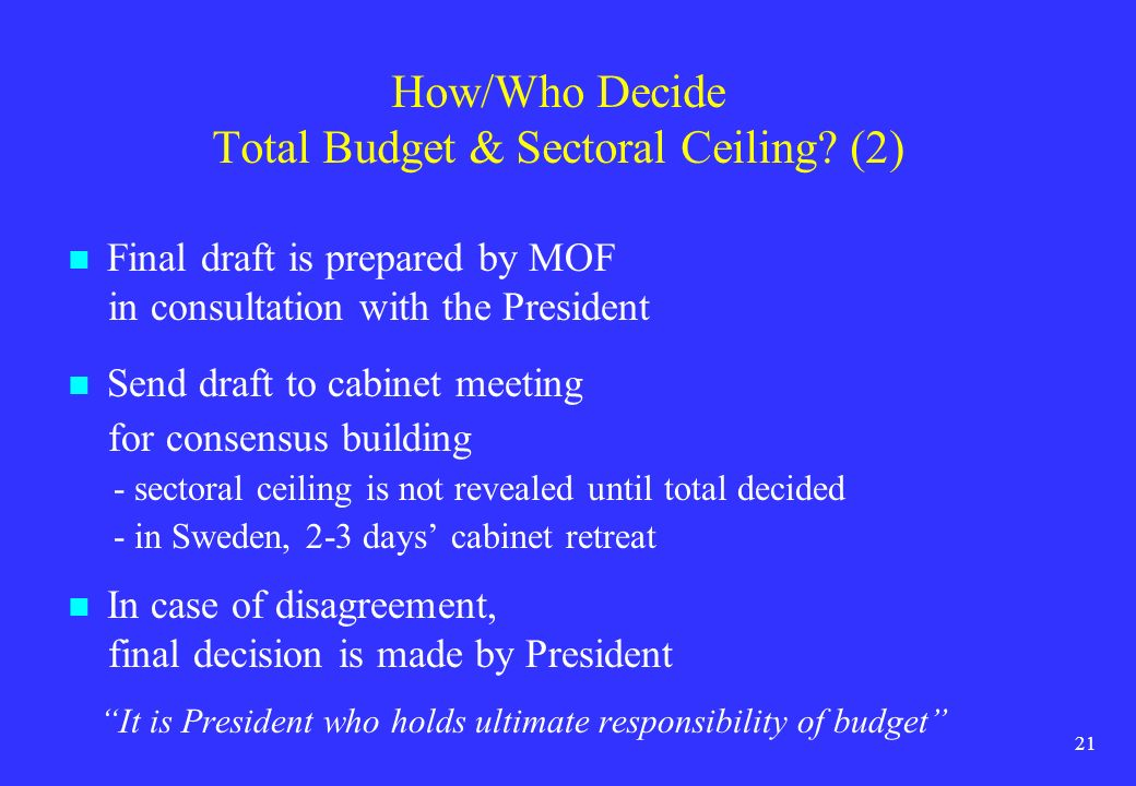 How/Who Decide Total Budget & Sectoral Ceiling (2)