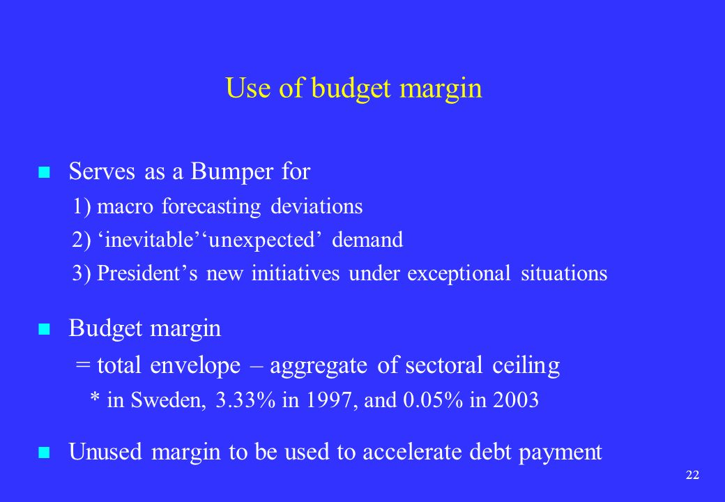 Use of budget margin Serves as a Bumper for Budget margin