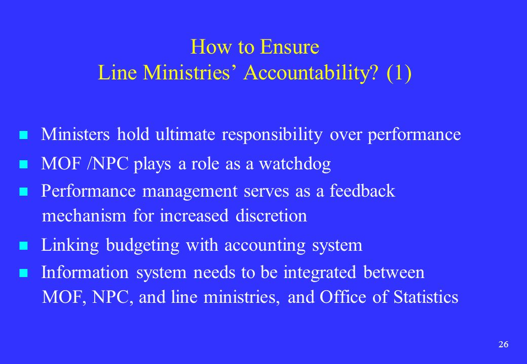 How to Ensure Line Ministries' Accountability (1)