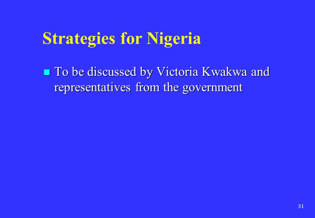 Strategies for Nigeria