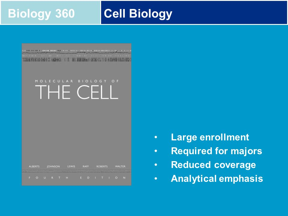 Biology 360 Cell Biology Large enrollment Required for majors