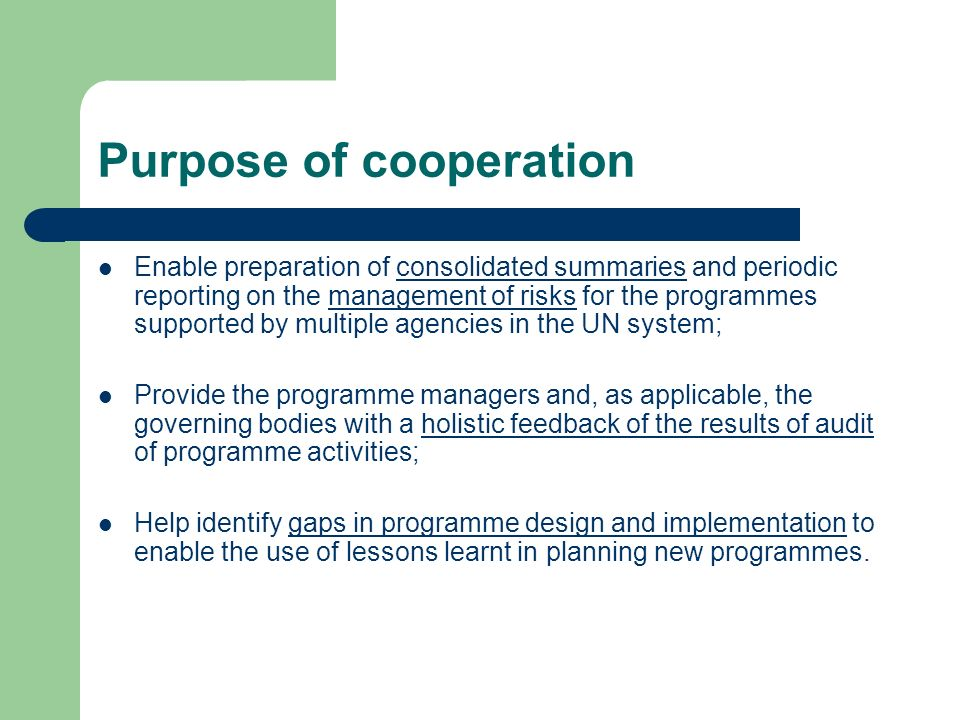 Purpose of cooperation