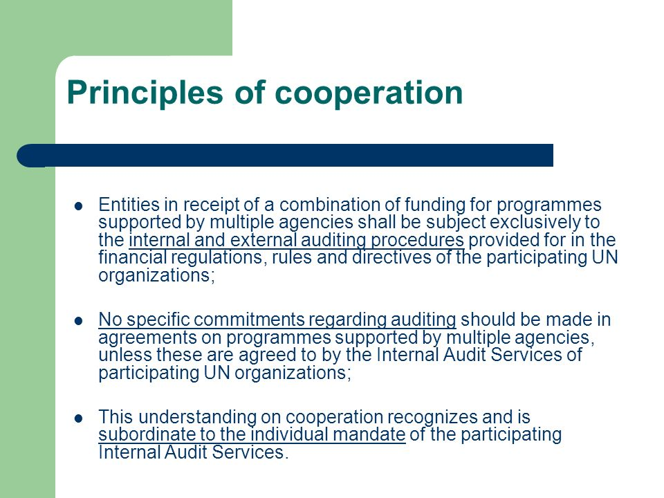 Principles of cooperation