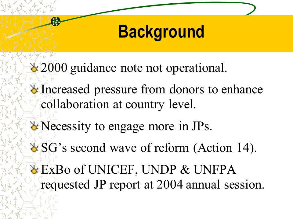 Background 2000 guidance note not operational.