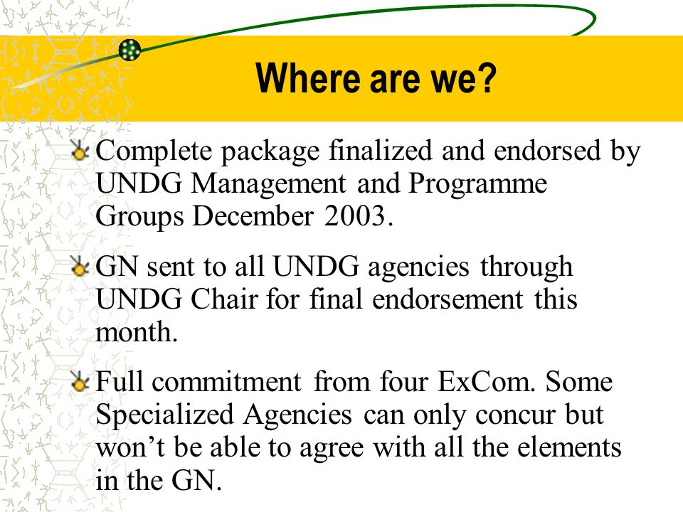 Where are we Complete package finalized and endorsed by UNDG Management and Programme Groups December 2003.