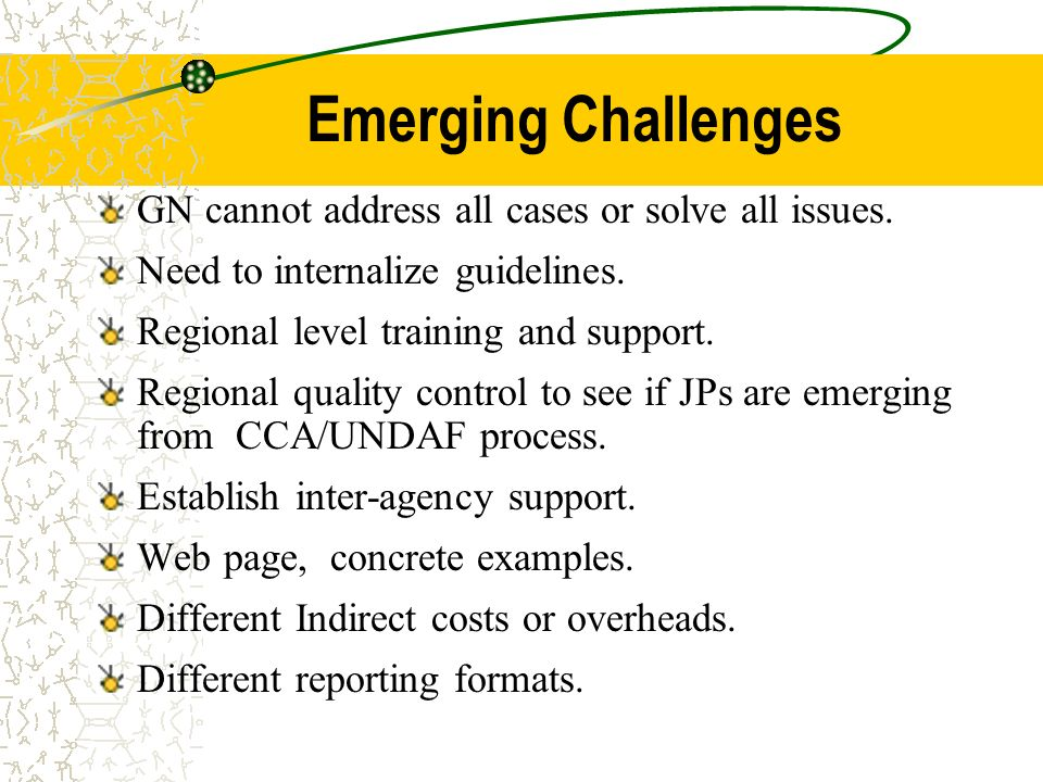 Emerging Challenges GN cannot address all cases or solve all issues.