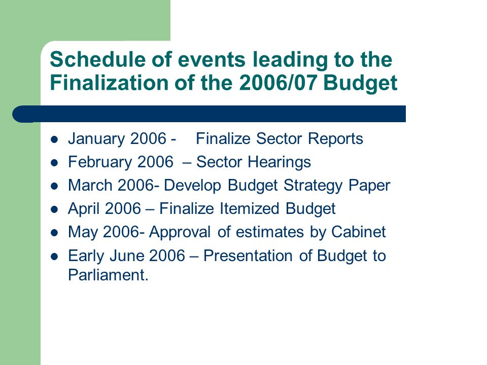 Schedule of events leading to the Finalization of the 2006/07 Budget