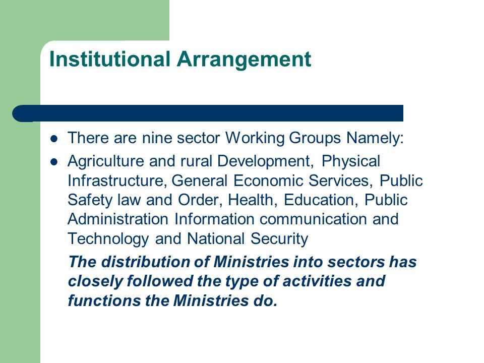 Institutional Arrangement