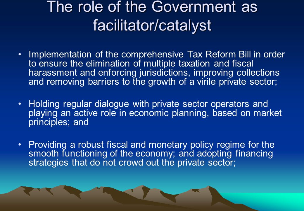 The role of the Government as facilitator/catalyst