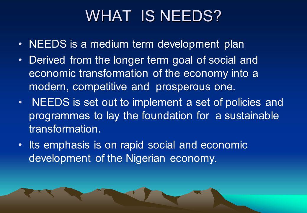WHAT IS NEEDS NEEDS is a medium term development plan