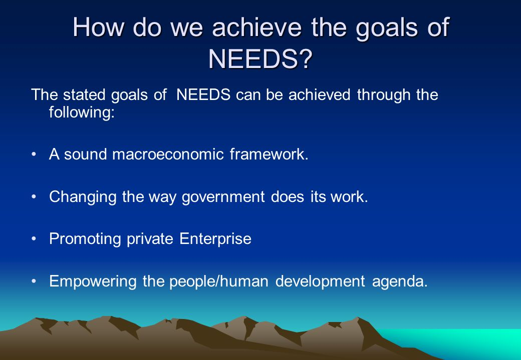 How do we achieve the goals of NEEDS