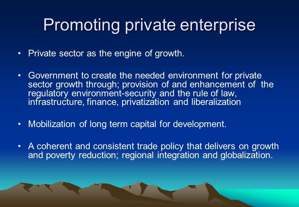 Promoting private enterprise