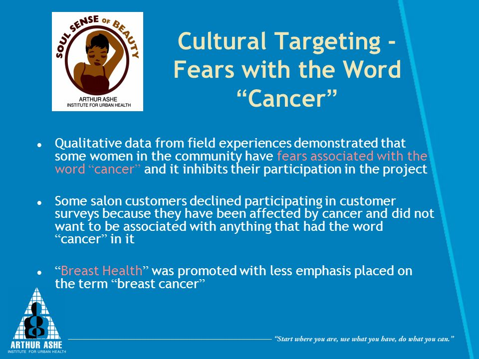 Cultural Targeting - Fears with the Word Cancer