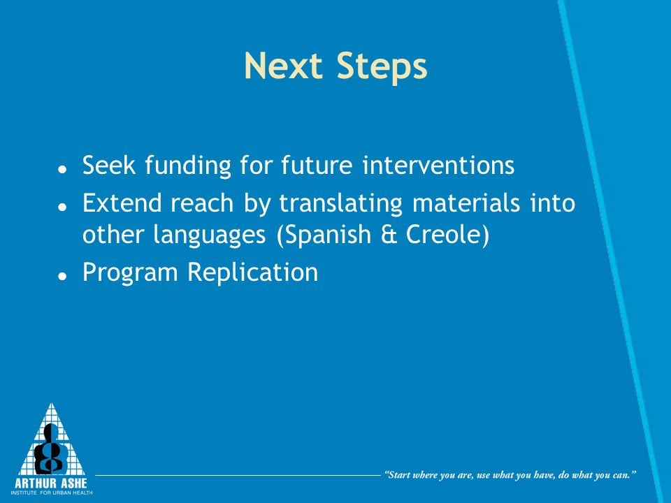 Next Steps Seek funding for future interventions