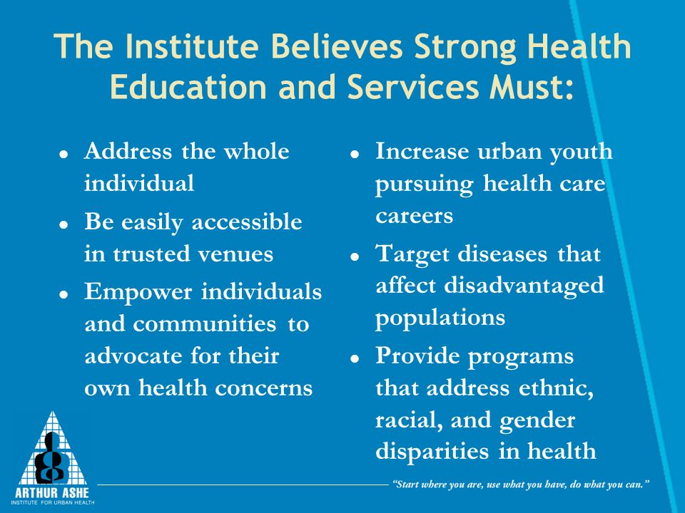 The Institute Believes Strong Health Education and Services Must: