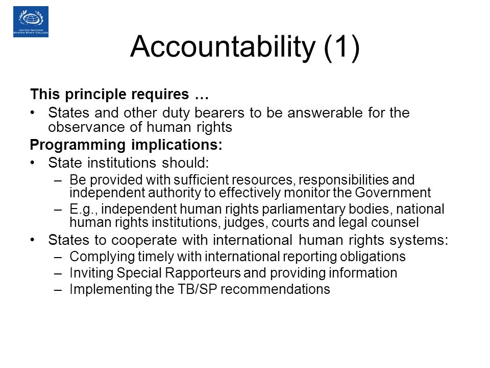 Accountability (1) This principle requires …