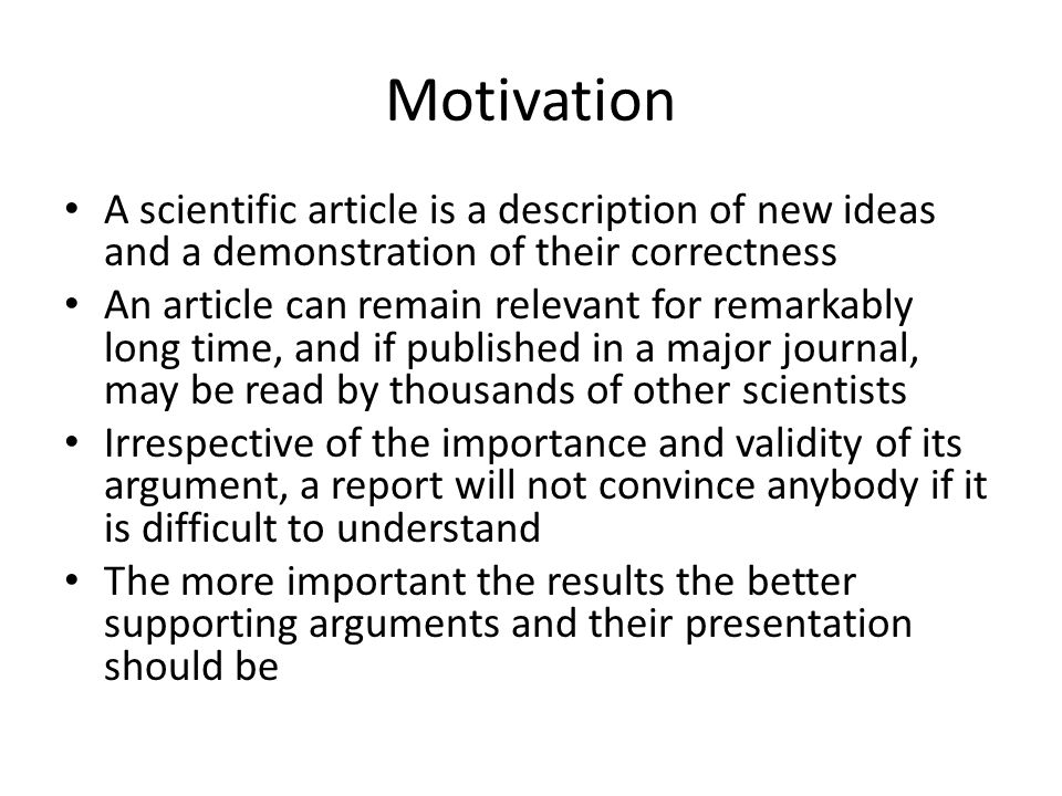 writing for computer science ppt video online  motivation a scientific article is a description of new ideas and a demonstration of their correctness