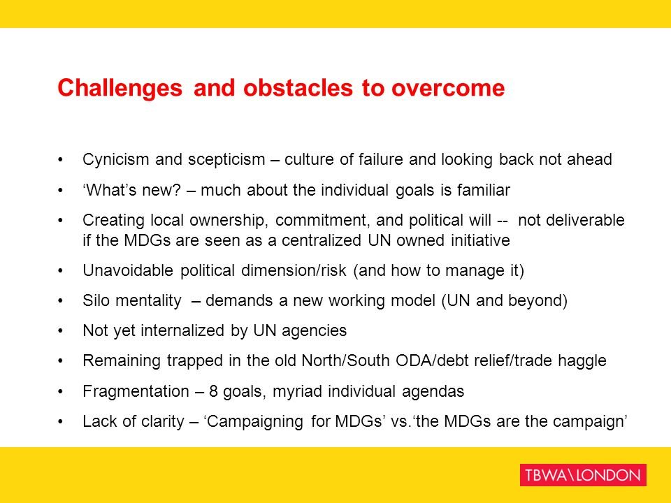 Challenges and obstacles to overcome