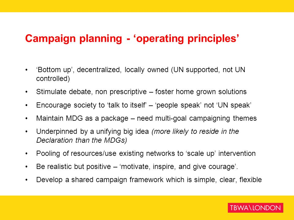 Campaign planning - 'operating principles'