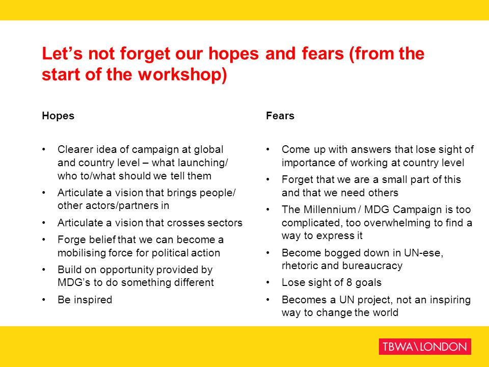 Let's not forget our hopes and fears (from the start of the workshop)