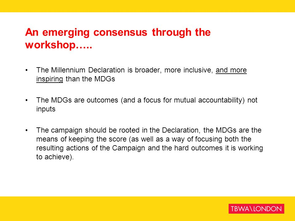 An emerging consensus through the workshop…..